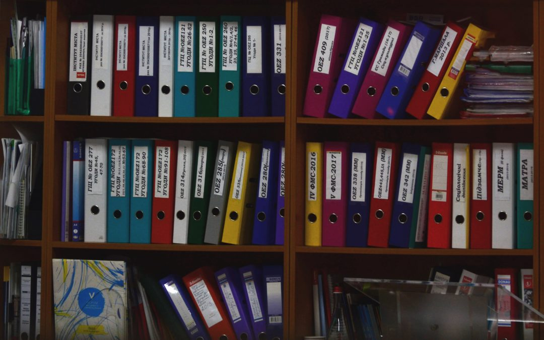 Lots of files on shelves